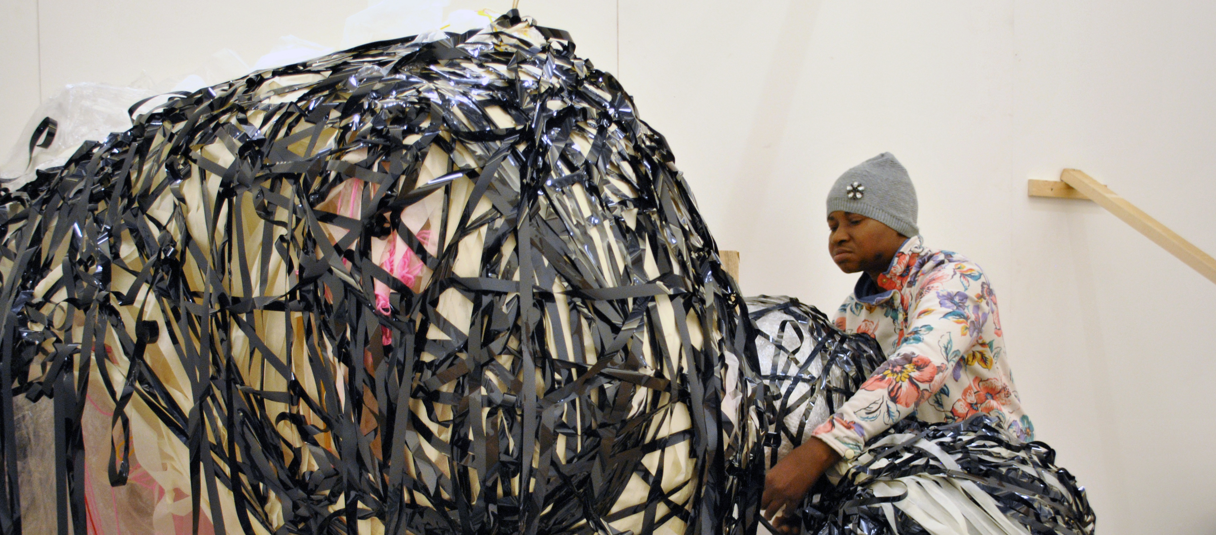 Nnena Kalu creating an installation at Theatre de Liege