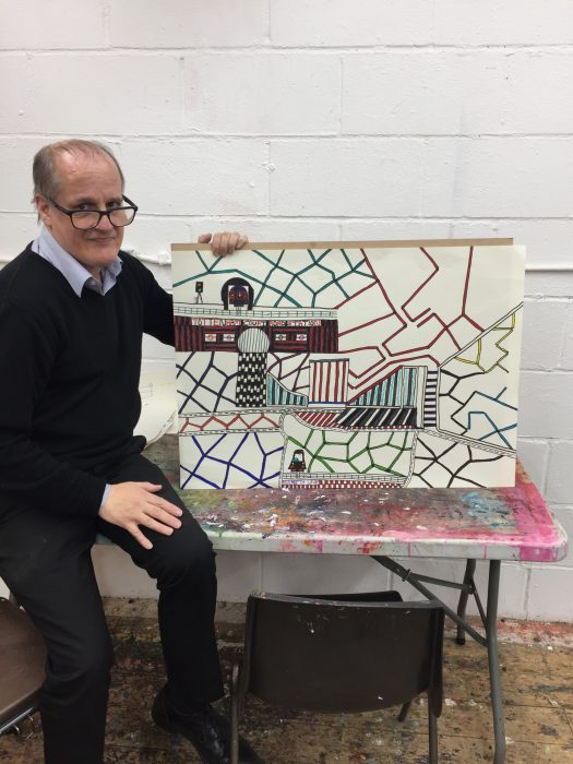 Ian Wornast with work progress