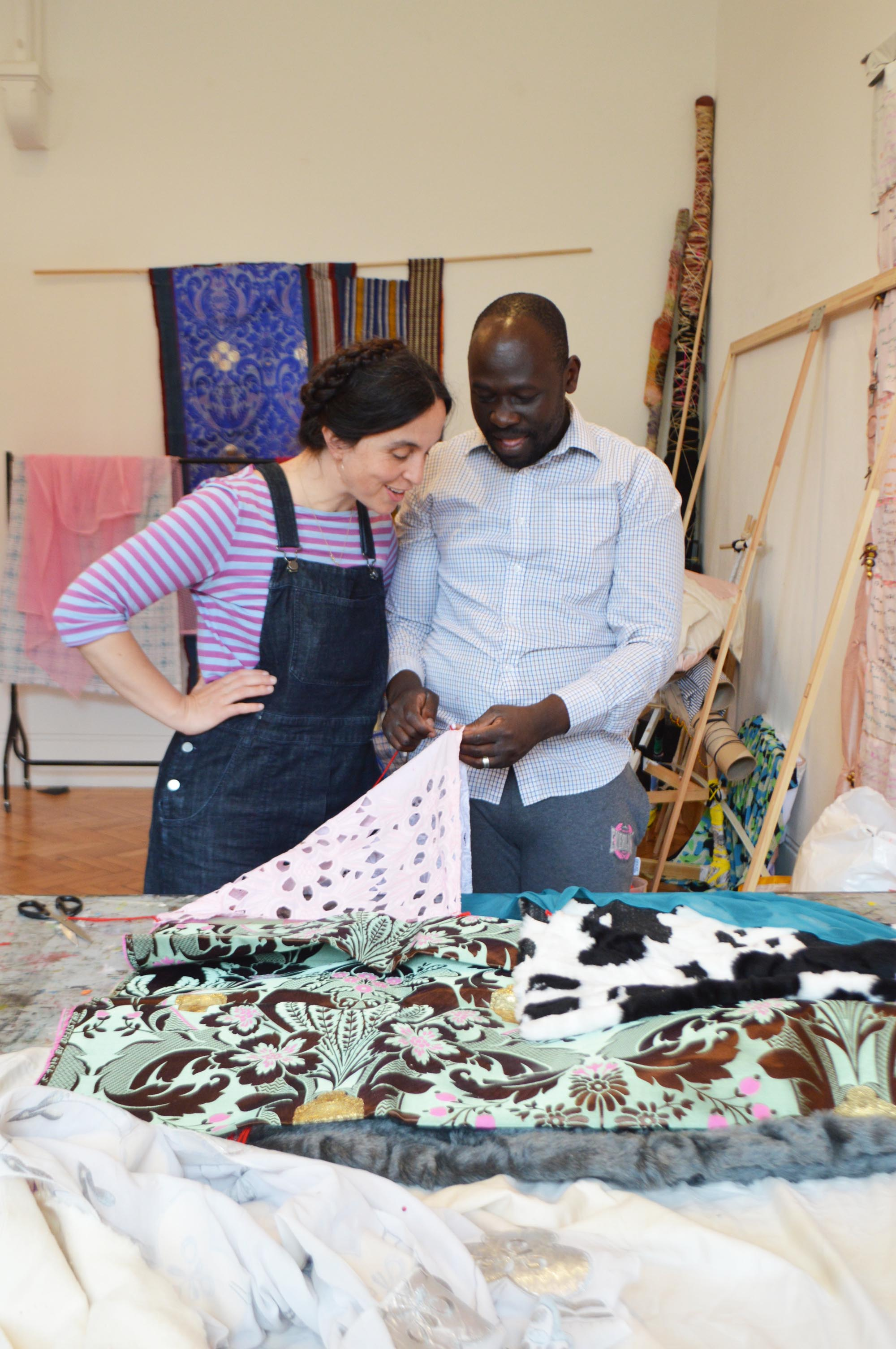 Andrew Omoding with artist Celia Pym