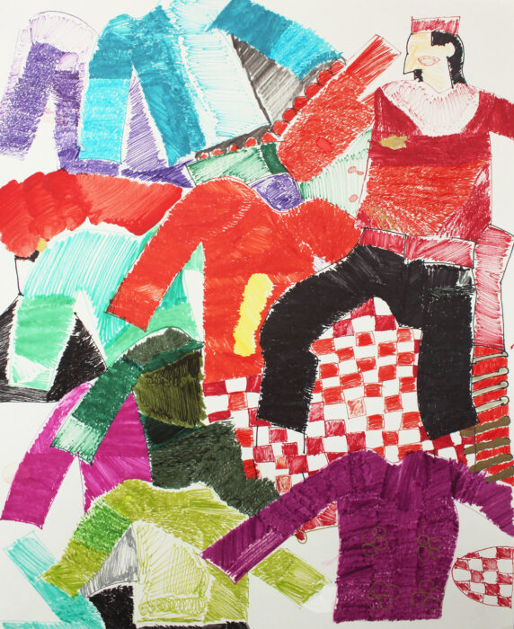 Hand drawn artwork of colourful jumpers