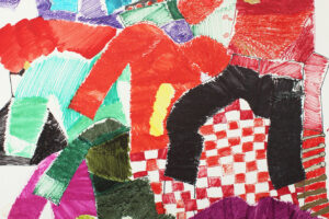 Pen drawing by thomas Owen of layered colourful jumpers